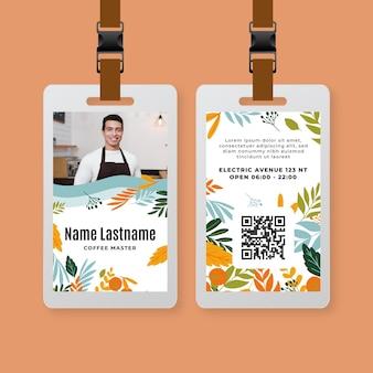 Plantilla de tarjeta de identidad de café