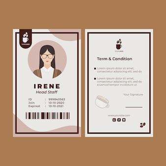Plantilla de tarjeta de identidad para cafetería.