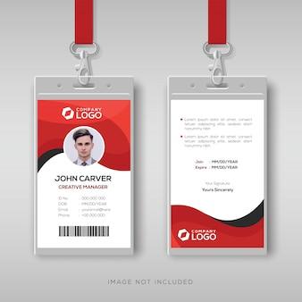 Plantilla de tarjeta de identidad profesional con detalles en rojo.