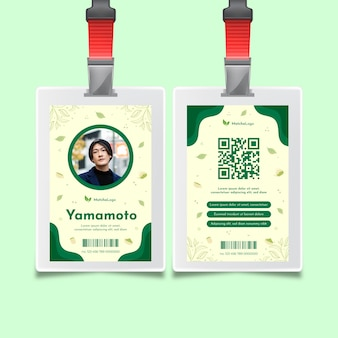 Plantilla de tarjeta de identidad de té matcha
