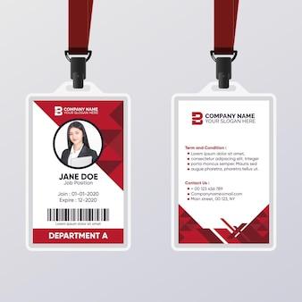 Plantilla de tarjeta de identificación abstracta con colores rojo oscuro
