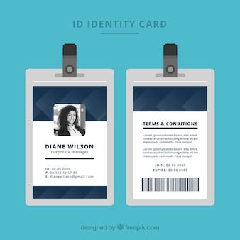 Plantilla de tarjeta de identificación abstracta con estilo geométrico