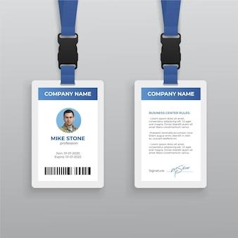 Plantilla de tarjeta de identificación abstracta con foto
