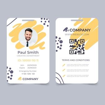 Plantilla de tarjeta de identificación abstracta con marcador de posición de foto