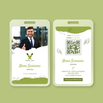 Plantilla de tarjeta de identificación de alimentos bio y saludables