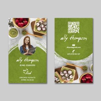 Plantilla de tarjeta de identificación de alimentos saludables