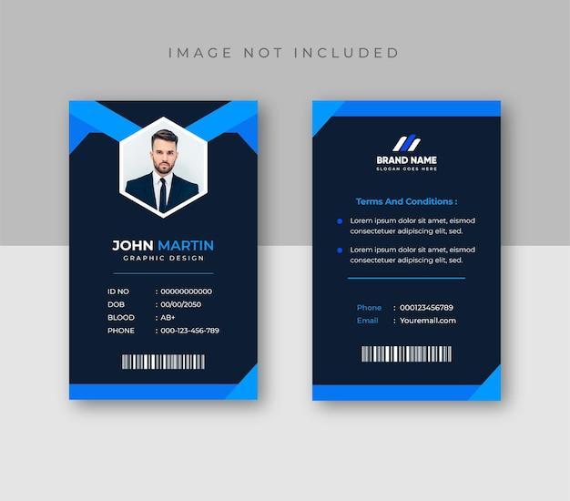 Plantilla de tarjeta de identificación azul y oscura con foto