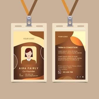 Plantilla de tarjeta de identificación de café