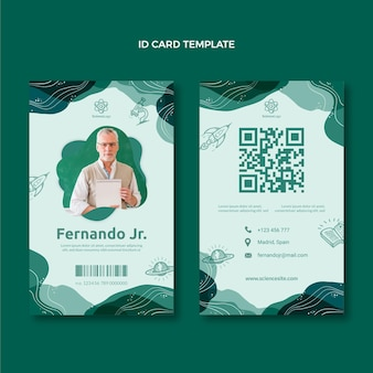 Plantilla de tarjeta de identificación de ciencia plana