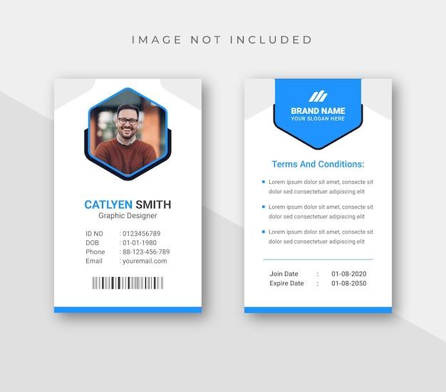 Plantilla de tarjeta de identificación comercial creativa con elementos minimalistas