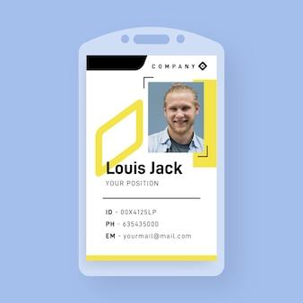 Plantilla de tarjeta de identificación comercial creativa con formas minimalistas y foto