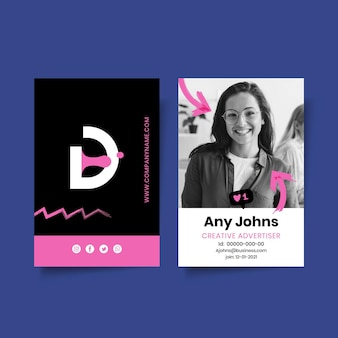 Plantilla de tarjeta de identificación comercial de marketing con foto