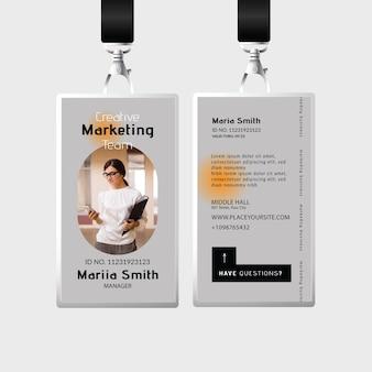 Plantilla de tarjeta de identificación comercial de marketing