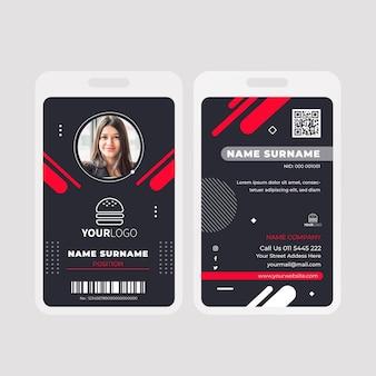 Plantilla de tarjeta de identificación de comida americana