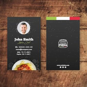 Plantilla de tarjeta de identificación de comida italiana
