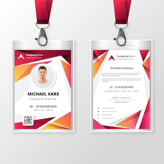 Plantilla de tarjeta de identificación delantera y trasera