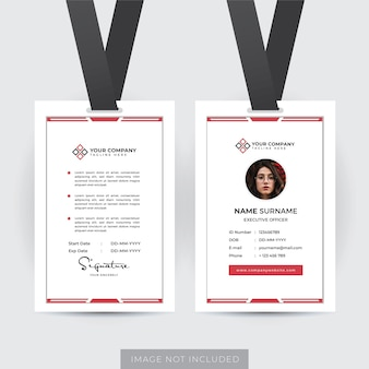 Plantilla de tarjeta de identificación de empleado profesional