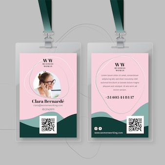 Plantilla de tarjeta de identificación de empresaria