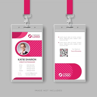 Plantilla de tarjeta de identificación con estilo con detalles de color rosa