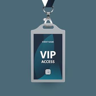 Plantilla de tarjeta de identificación con formas abstractas acceso vip