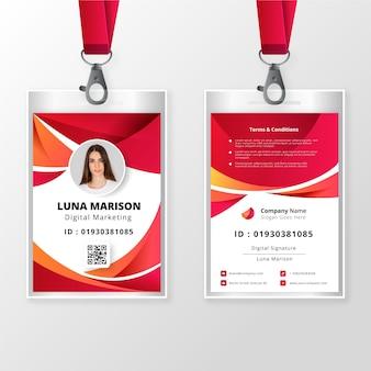 Plantilla de tarjeta de identificación frontal y posterior con foto