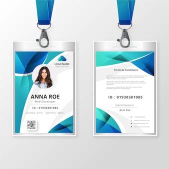 Plantilla de tarjeta de identificación frontal y posterior con imagen