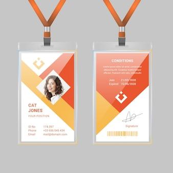 Plantilla de tarjeta de identificación geométrica con foto