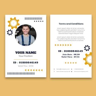 Plantilla de tarjeta de identificación de mecánico con foto