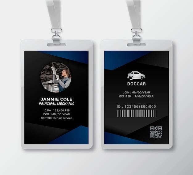 Plantilla de tarjeta de identificación de mecánico