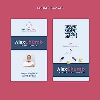 Plantilla de tarjeta de identificación médica de diseño plano