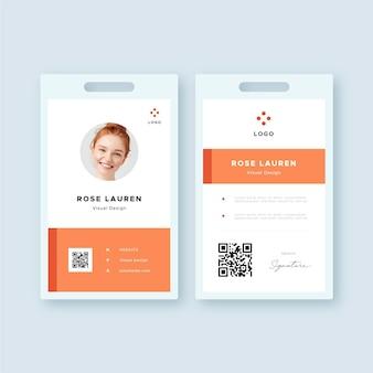 Plantilla de tarjeta de identificación mínima delantera y trasera