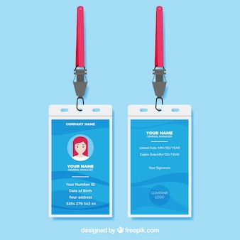 Plantilla de tarjeta de identificación plana con enganche y cordón