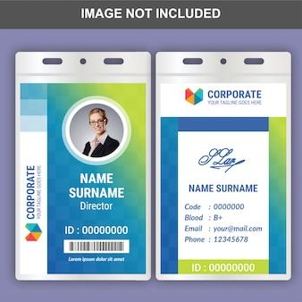 Plantilla de tarjeta de identificación plana