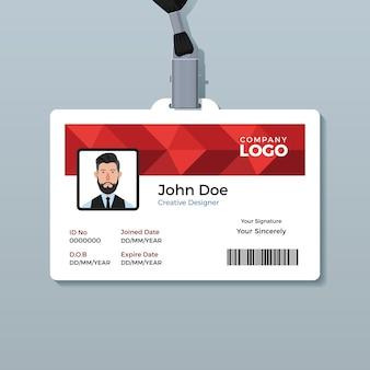 Plantilla de tarjeta de identificación de polígono rojo
