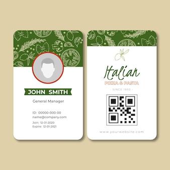 Plantilla de tarjeta de identificación para restaurante de comida italiana