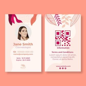 Plantilla de tarjeta de identificación para salón de belleza