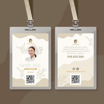 Plantilla de tarjeta de identificación de salón de belleza
