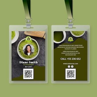 Plantilla de tarjeta de identificación de té matcha