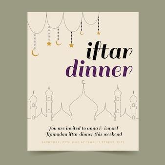 Plantilla de tarjeta iftar dibujada a mano