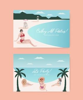 Plantilla de tarjeta con ilustración de acuarela de diseño de concepto de vacaciones en la playa
