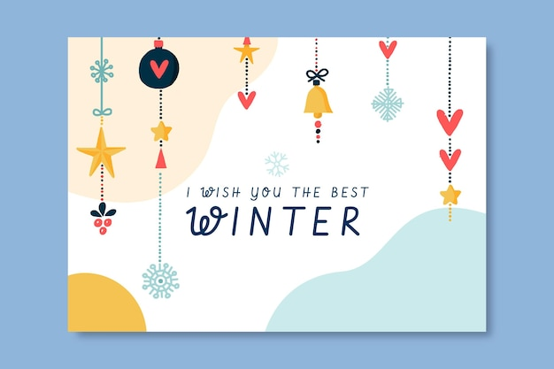 Plantilla de tarjeta de invierno dibujada a mano