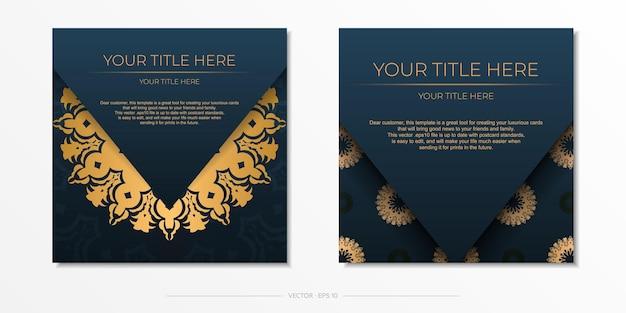 Plantilla de tarjeta de invitación azul oscuro con adornos abstractos. los elementos vectoriales elegantes y clásicos son ideales para la decoración.