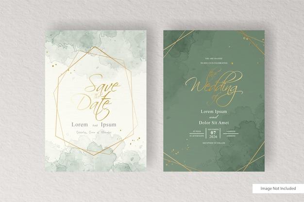 Plantilla de tarjeta de invitación de boda en acuarela con acuarela líquida pintada a mano