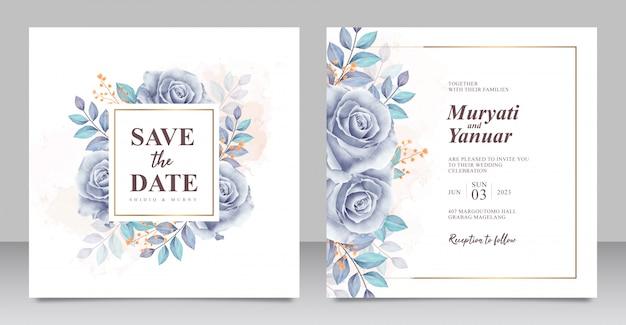 Plantilla de tarjeta de invitación de boda acuarela azul hermosas rosas