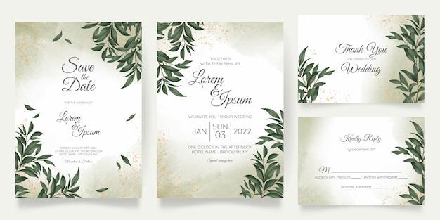 Plantilla de tarjeta de invitación de boda acuarela con decoración floral dorada