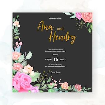 Plantilla de tarjeta de invitación de boda acuarela diseño