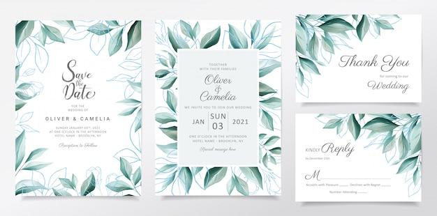 Plantilla de tarjeta de invitación de boda con acuarela elegante borde de hojas