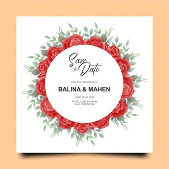 Plantilla de tarjeta de invitación de boda con acuarela estilo rosa roja