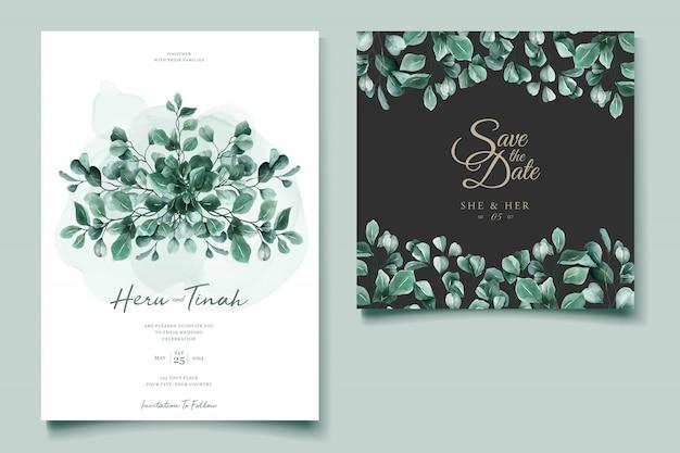 Plantilla de tarjeta de invitación de boda de acuarela de eucalipto