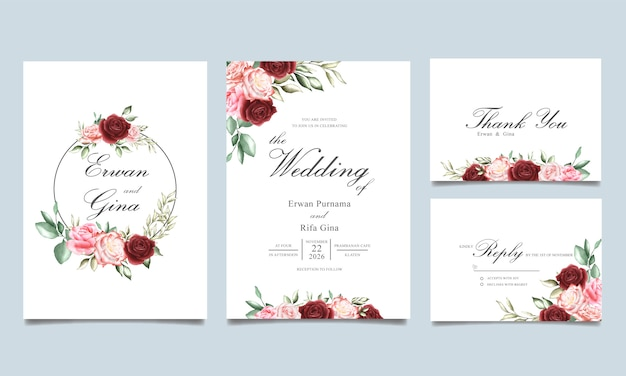 Plantilla de tarjeta de invitación de boda con acuarela floral y hojas